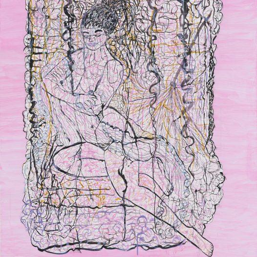 Relaxing Woman #6, 2017 Papierschnitt, Tusche auf Pergament, 113 x 90 cm