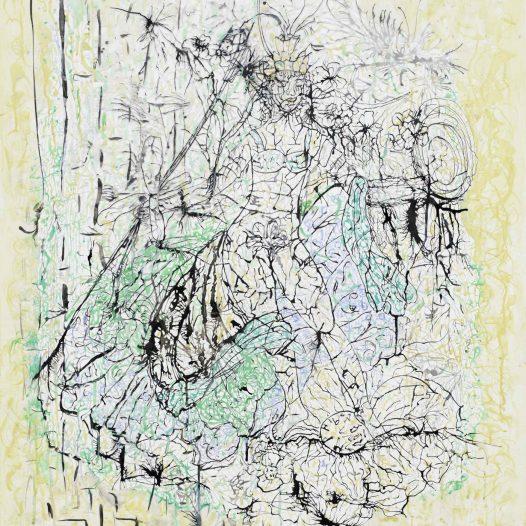 Mirjam, 2016, Papierschnitt, Tusche auf Pergament, 113 x 90 cm