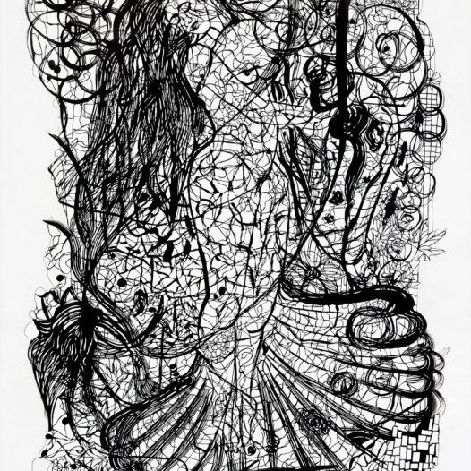 Gingit II, 2012, Tusche, Pergament, 130 x 90 cm