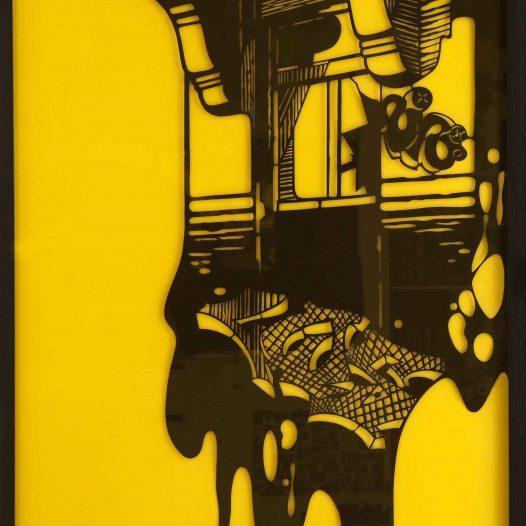 Erker links (Diptychon), 2008 Papierschnitt, gerahmt unter gelbem Acrylglas,  220 x 200 cm