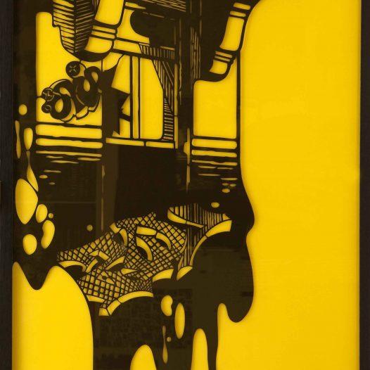 Erker rechts (Diptychon), 2008, Papierschnitt, gerahmt unter gelbem Acrylglas, 220 x 200 cm