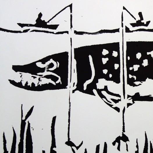 Hecht, 2015, Holzschnitt, Edition 4/12, Druck: 127 x 65 cm