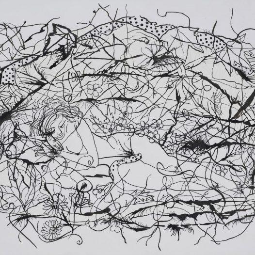 Esther, 2010/2020, Papierschnitt, Tusche auf Pergament, 40 x 50 cm