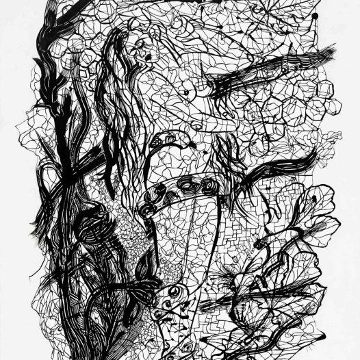 Gingit I, 2012, Papierschnitt, Tusche auf Pergament, 130 x 90 cm
