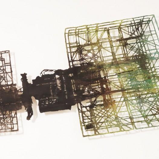 Hybridapparat 2, 2019, Bleistift, Graphit, Öl, gerissenes Papier, 90 x 190 cm