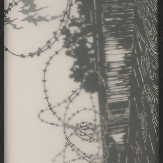 Himmelwärtz, 2011, Papierschnitt gerahmt, 180 x 75 cm