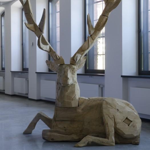 Hirsch, 2012, Pappel, 290 x 200 x 100 cm