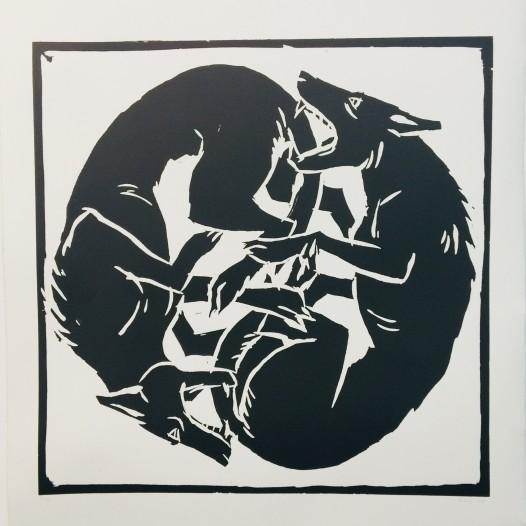 Hundekampf, 2008, Holzschnitt, Ed. 4/30 Druck: 61 x 61 cm