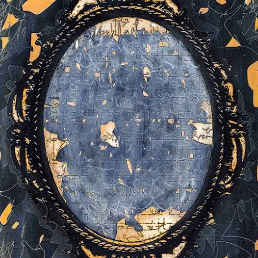 Spiegelschrift 1, 2015, 40 x 30 cm, Übermalter Reliefdruck auf 24k Blattgold