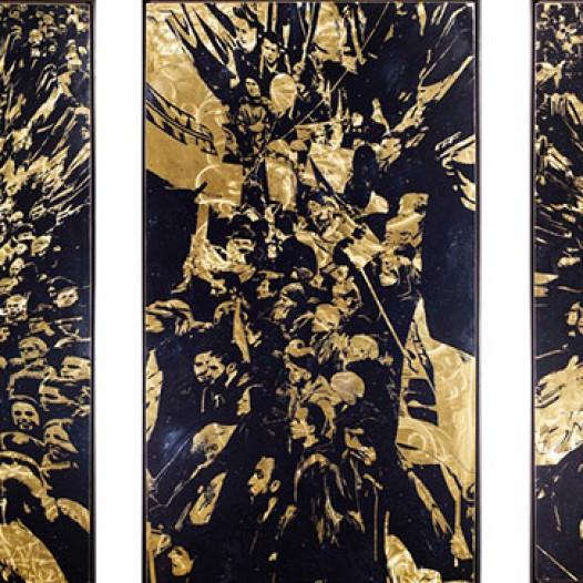 Verzug  I-IV, 2016, je 100 x 180 cm, Übermalter Reliefdruck auf Messing