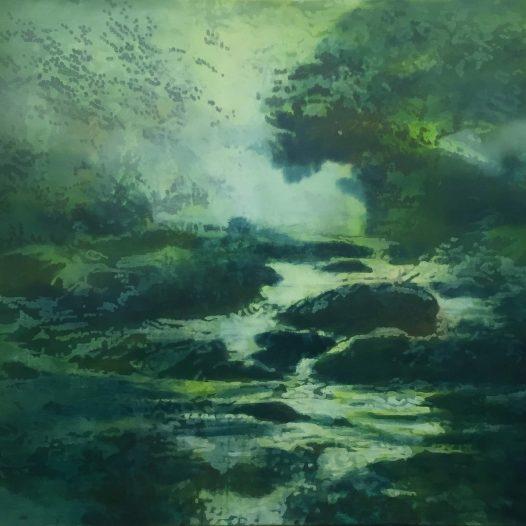 Landschaft, 2018, Öl auf Baumwolle, 80 x 100 cm