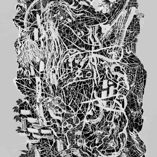 Lewana, 2012, Papierschnitt, Tusche auf Pergament, 130 x 90 cm