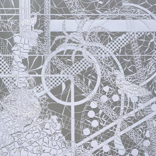 Magic Forest - Lion, 2020, Papierschnitt, Tusche auf Pergament, 90 x 113 cm