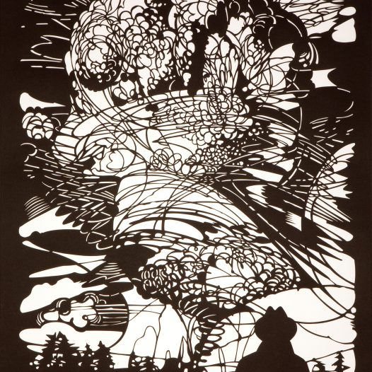 Mann staunt, 2013, Papierschnitt, gerahmt, 92 x 72 cm