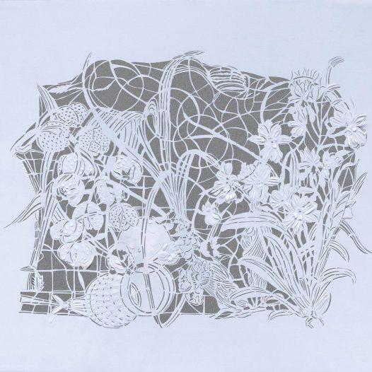 Magic Forest - Orchid II, 2020, Papierschnitt, Pergament, 50 x 60 cm