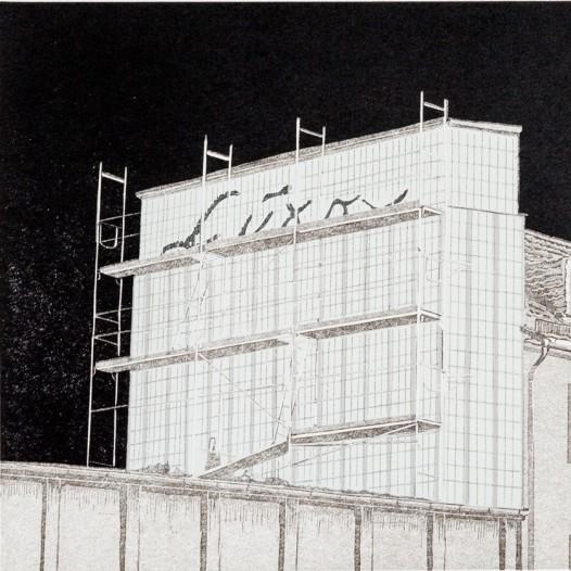 Goodbye Luxor, 2017, Linolschnitt, Reduktion, 6 Farben, Druck: 19,5 x 20 cm, Papier: 29,5 x 30 cm, Auflage 20