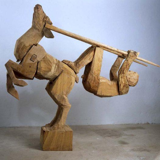 Antilope und Mensch, 2004, Eiche, Höhe: 188 cm