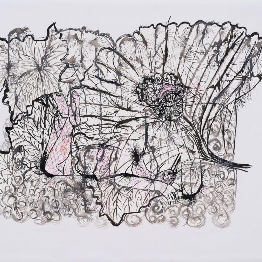 Relaxing Woman #12, 2018, Papierschnitt, Tusche auf Pergament, 90 x 113 cm