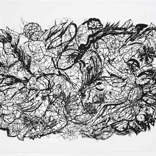 Sahra, 2009, Papierschnitt, Tusche auf Pergament, 104 x 140 cm