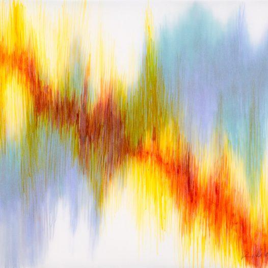 Emotional Seismology 1, 2020, 40 x 29,5 cm, Schellacktusche auf diversen Schichten Transparentpapier