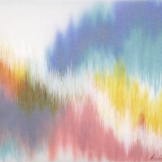 Emotional Seismology 2, 2020, 40 x 29,5 cm, Schellacktusche auf diversen Schichten Transparentpapier