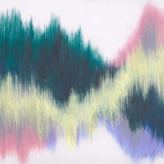 Emotional Seismology 3, 2020, 40 x 29,5 cm, Schellacktusche auf diversen Schichten Transparentpapier