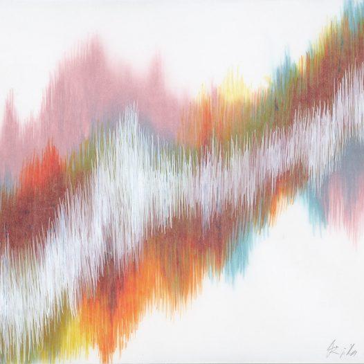 Emotional Seismology 4, 2020, 40 x 29,5 cm, Schellacktusche auf diversen Schichten Transparentpapier