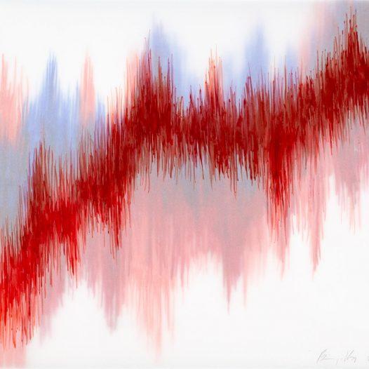Emotional Seismology 5, 2020, 40 x 29,5 cm, Schellacktusche auf diversen Schichten Transparentpapier