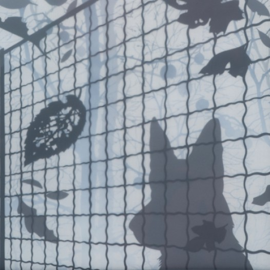 Wächter, 2009 Papierschnitt, gerahmt  92 x72 cm