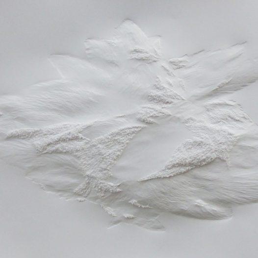 Aja von Loeper: Weißes Blatt O 20-6, 2020, 100 x 70 x 5 cm, Papier Relief