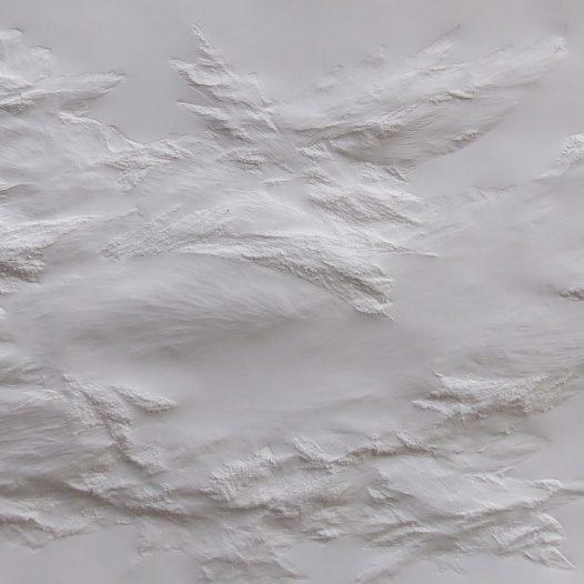 Aja von Loeper: Weißes Blatt UE 19-3, 2019, 240 x 105 x 8 cm, Papier Relief