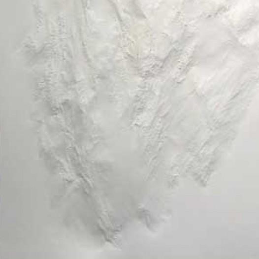 Weißes Blatt XXXXVI, 2009, 100 x 70 x 5cm, Papier, mit Buchenkolben bearbeitet