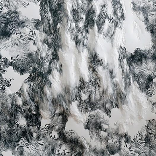 Am Schmausenbuck I-62, 2011, 100 cm x 70 cm, Papier, mit Buchenkolben bearbeitet
