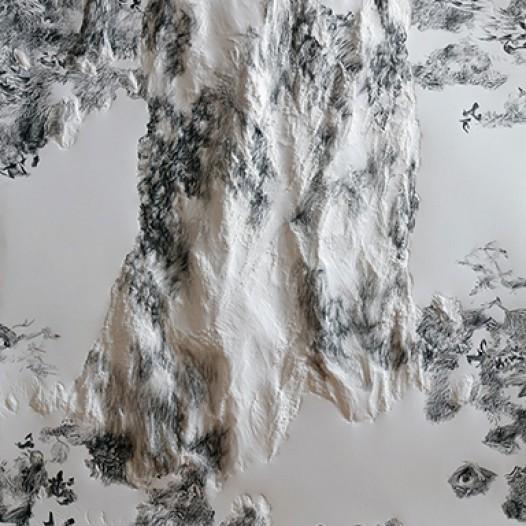 Am Schmausenbuck I-64, 2011, 100 cm x 70 cm, Papier, mit Holzkeil bearbeitet