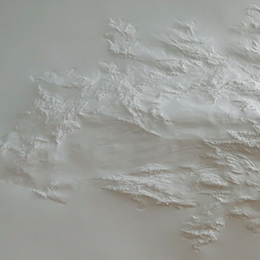 Weißes Blatt XL-6, 2013, 105 cm x 235 cm, Papier, mit Buchenkolben bearbeitet