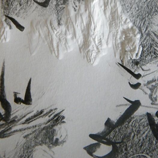10 Jahre am Schmausenbuck, I-36 (Detail), 2008, 403 x 70 cm, Papier, mit Holzkeil bearbeitet