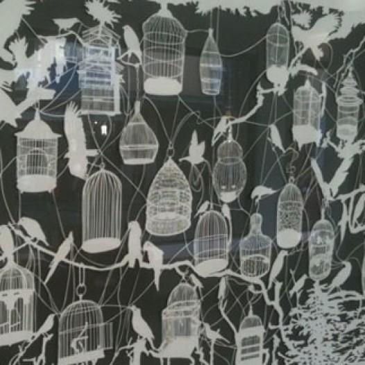 O.T. (Vogelkäfige III), 2011, 120 x 200 cm, geschnittenes Papier