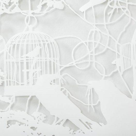 O.T. (Vogelkäfige III), Detail, 2011, 120 x 200 cm, geschnittenes Papier
