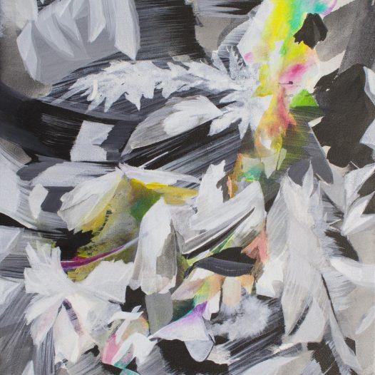 Fluktuation, 2021, Tusche und Acryl auf Leinwand, 47 x 37 cm
