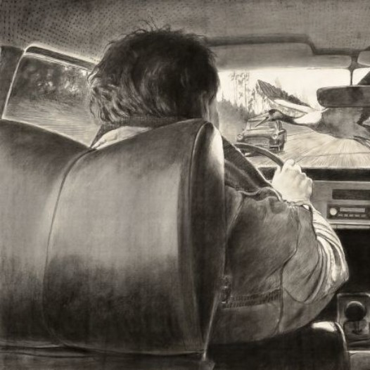 o.T. (Auto und Vögel), 2014, 108 x 218 cm, Kohle/Kreide auf Papier