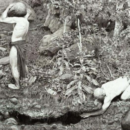 o.T. (Männer mit Fliegen), 2014, 240 x 460 cm, Kohle/Kreide auf Papier