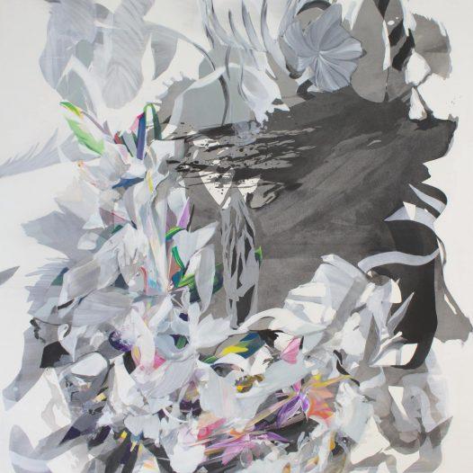 Komplex, 2021, Tusche und Acryl auf Leinwand, 160 x 140 cm