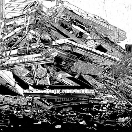 Haufen Beton, 2011, Linolschnitt
