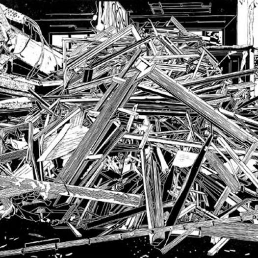 Haufen Holz, 2011, Linolschnitt