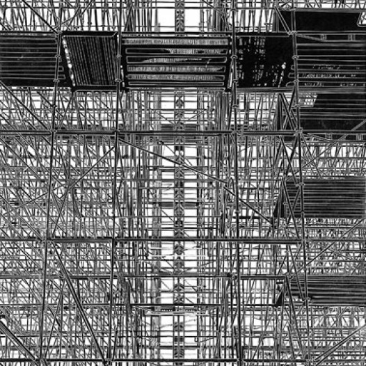 Aufzug, 2011, Linolschnitt, 158 x 111 cm