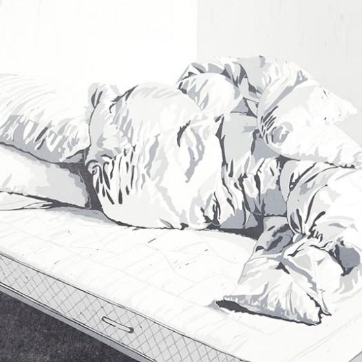 Bett, 2012, Linolschnitt, 56 x 78 cm