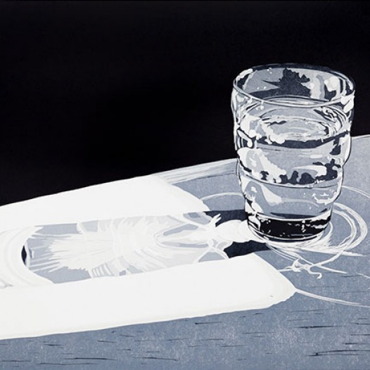 Glas, 2013, Linolschnitt, 40 x 50 cm