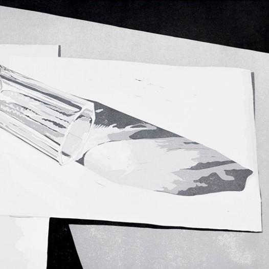 Glas auf Papier, 2014, Linolschnitt, 40 x 50 cm
