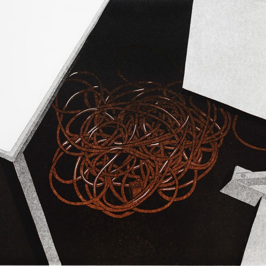 Unterm Tisch, 2015, Reduktionsschnitt 6 Farben, 40 x 44 cm, Edition 1/15 + 2