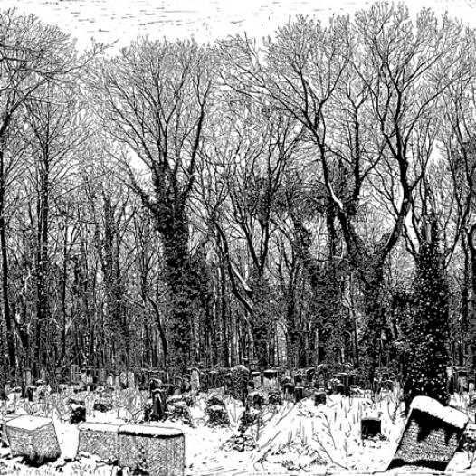 Friedhof, 2007, Linolschnitt, 140 x 180 cm, Edition 5 + 2